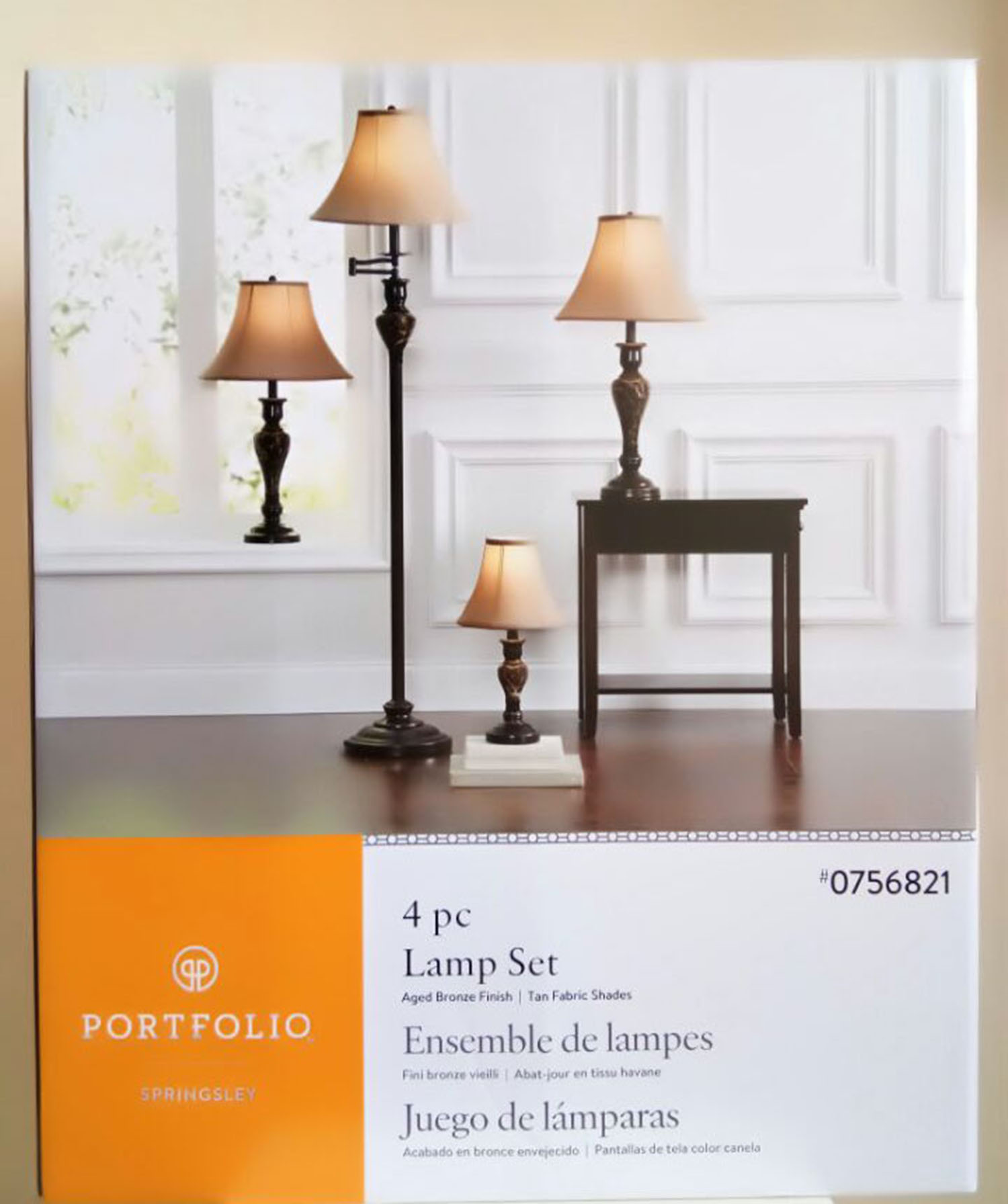 Shop Portfolio Springsley 4-Piece Lamp Set with Brown Shades at ...