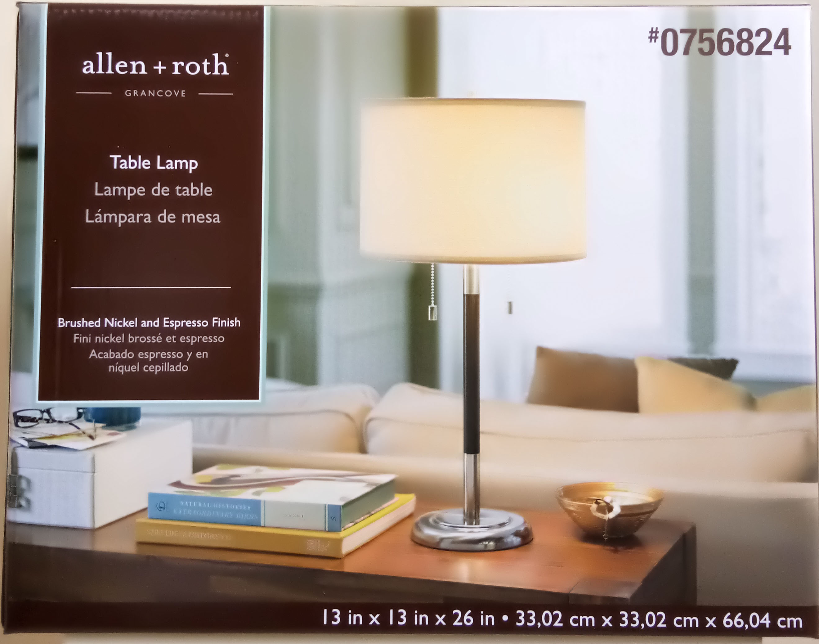 Shop allen roth in Satin Nickel Standard Table Lamp with
